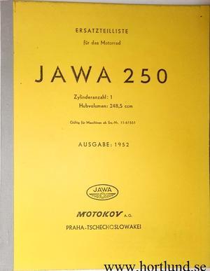 1952 Jawa 250 typ 11 Reservdelskatalog