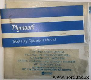 1969 Plymouth Fury Operator's Manual