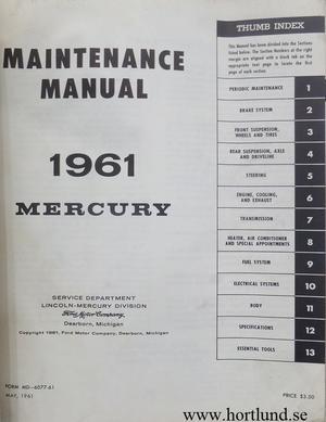 1961 Mercury Maintenance Manual