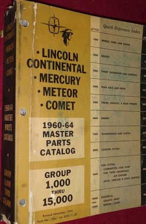 1960 - 1964 Lincoln Continental, Mercury, Meteor, Comet Master Parts Catalog Chassis