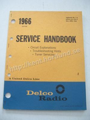 1966 Delco Radio Service Handbook Circuit Explanation, Troubleshooting, Tuner Service