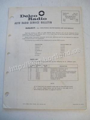 1970 Delco Radio Service Bulletin 6D-1970-1