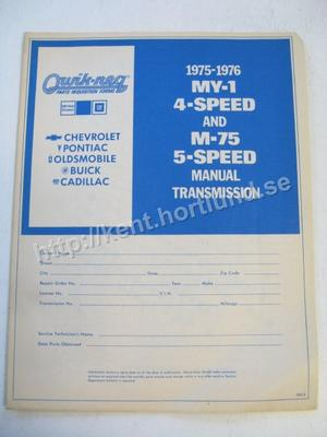 1975-1976  GM Parts Requestion Form MY-1 4-Speed and M-75 5-Speed Manual Transmission