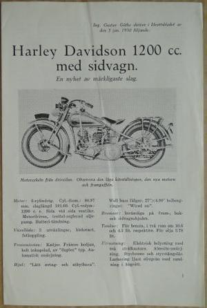 1930 Harley-Davidson broschyr svensk
