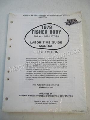 1979 Fisher Labor Time Guide Manual First edition