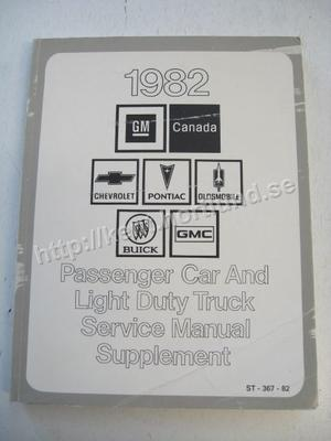 1982 GM Canada Passanger Car and Light duty truck Service Manual Supplement