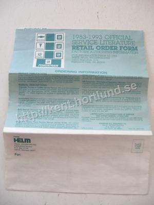 1983-1993 GM Service Literature Retail Order Form