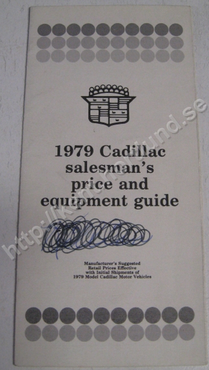 1979 Cadillac Salesman's price and equipment guide