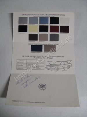 1988 Cadillac de ville fleetwood color selctions exterior