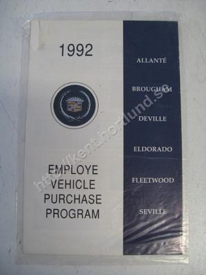 1992 Cadillac employe vehicle purchase program
