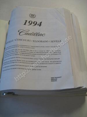 1994 Cadillac Deville, deville concourse, eldorado & seville New product service manual