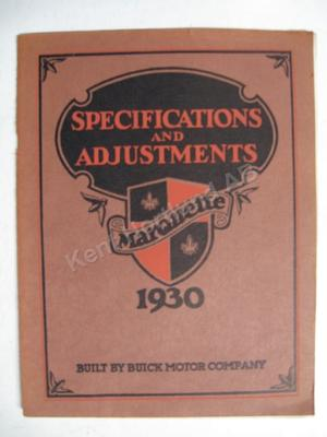 1930 Marquette Specifications & adjustments