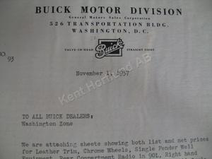 1938 Buick Misc letter price list