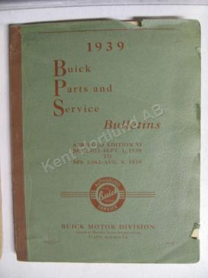 1939 Buick parts and service bulletins