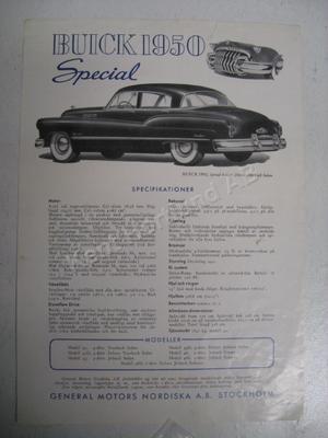 1950 Buick Special broschyr svensk