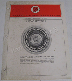 1969 Buick Product information bulletin new option