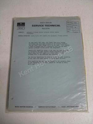 1971 Buick Early built models service technical bulletin