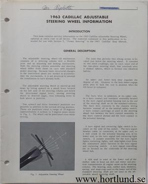 1963 Cadillac Adjustable Steering Wheel Information