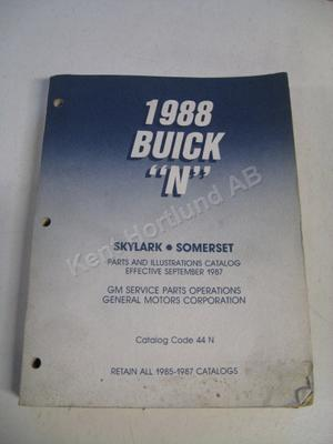 1988 Buick Skylark Somerset Parts and illustration catalog N