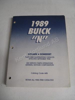 1989 Buick Skylark, Somerset parts and illustration catalog N
