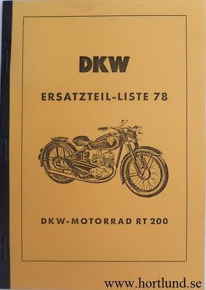 1951 - 1952 DKW RT 200 Reservdelskatalog