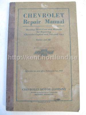 1928 Chevrolet Repair Manual Capitol and National Cars Series AA-AB