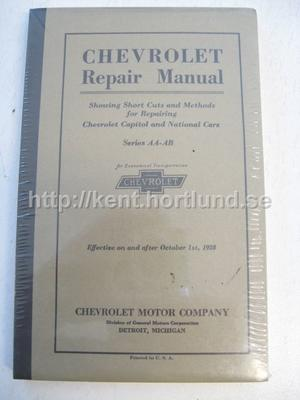 1928 Chevrolet Repair Manual Capitol and National Cars Series AA-AB