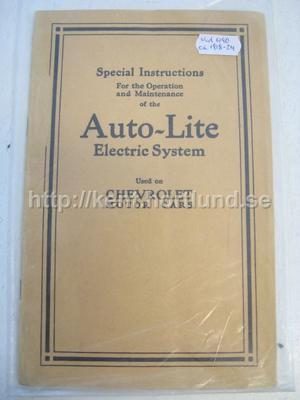 1917-24 Auto-Lite Electric System förklaringar till modell 490, D och F