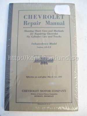 1931 Chevrolet Repair Manual Six Cylinder Cars and Trucks Series AE-LT