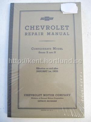 1932 Chevrolet Repair Manual Confederate Model Series B and N