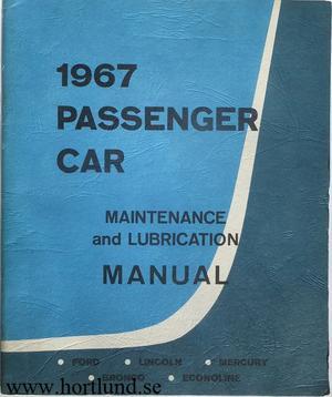 1967 Ford Lincoln Mercury Bronco Econoline Maintenance and Lubrication Manual