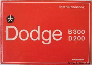 1972 1973 Dodge B300 och D200 Instruktionsbok svensk