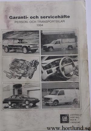 1994 GM Garanti- och servicehäfte svensk