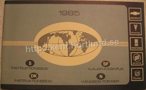 1985 Instruktionsbok Chevrolet Pontiac Oldsmobile Buick Cadillac