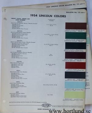 1954 Lincoln Du Pont lackkarta
