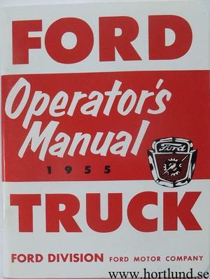 1955 Ford Truck Operator's Manual