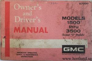 1972 GMC 1500-3500 Truck Owner's Manual