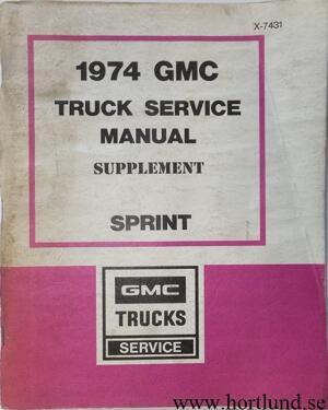 1974 GMC Sprint Service Manual supplement