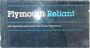 1981 Plymouth Reliant Operating Instructions