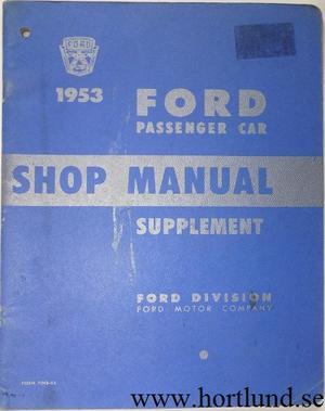 1953 Ford car Shop Manual supplement