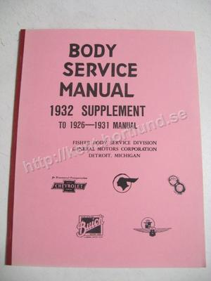 1932 Body Service Manual Supplement