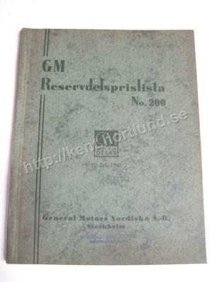 1942 GM Reservdelsprislista Svensk