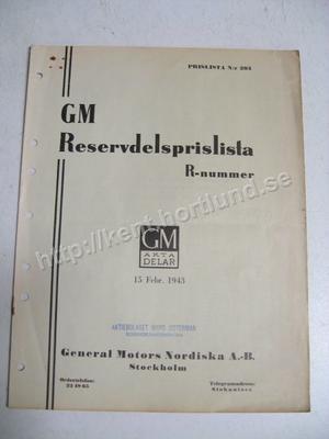 1943 GM Reservdelsprislista Svensk