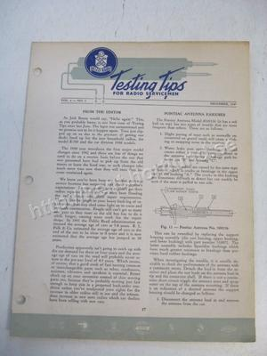 1947 Delco Radio Testing tips for radio servicemen December 1947