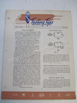 1949 Delco Radio Testing tips for radio servicemen May 1949