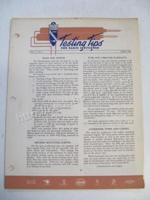 1949 Delco Radio Testing tips for radio servicemen April 1949