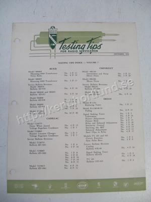 1950 Delco Radio Testing tips Index for radio servicemen December 1950