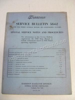 1958 GM Service bulletin 58-62 For GM Air Conditioning systems