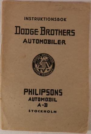 1922 Dodge Instruktionsbok svensk