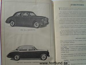 1957 MG Magnette ZB Operation Manual